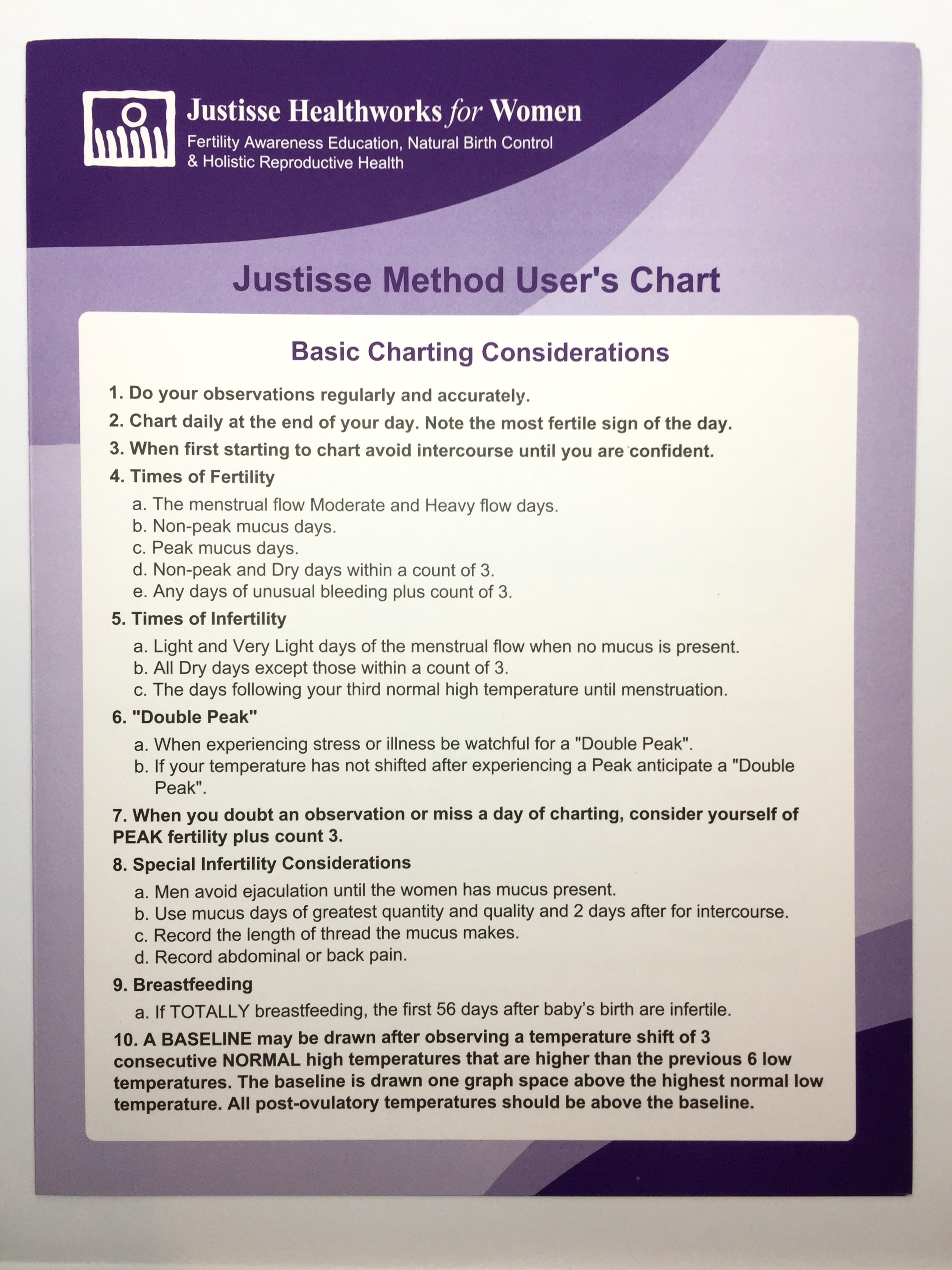 Justisse Mucus Charts